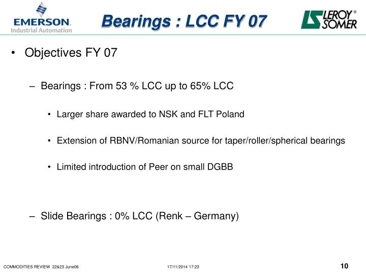 Bearings : LCC FY 07