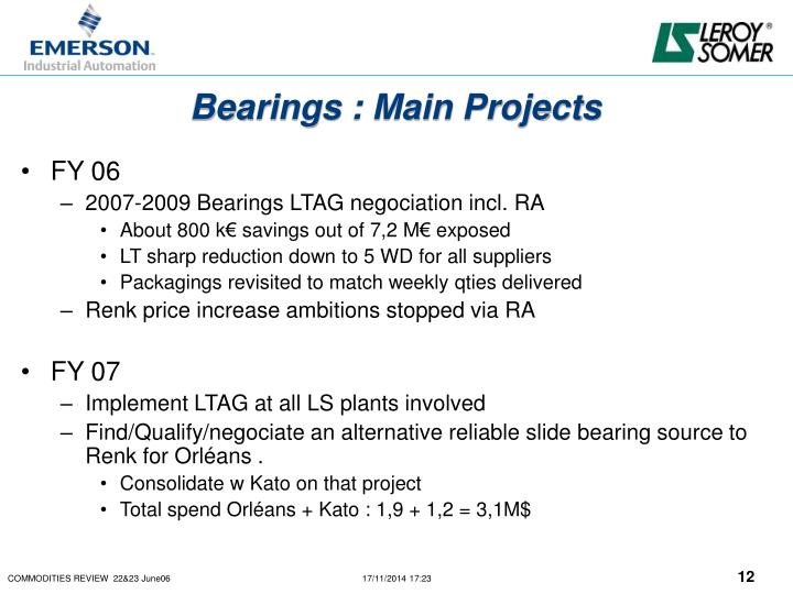 Bearings : Main Projects