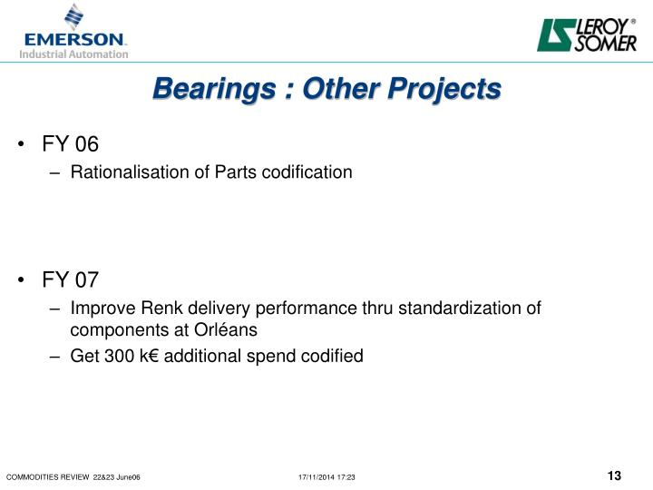Bearings : Other Projects