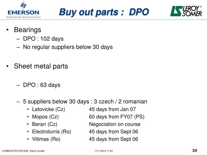 Buy out parts :  DPO