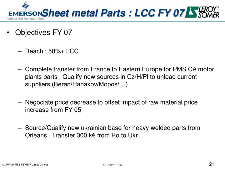 Sheet metal Parts : LCC FY 07