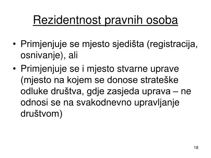 Rezidentnost pravnih osoba