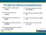 ffy 2012 uc calfresh accomplishments