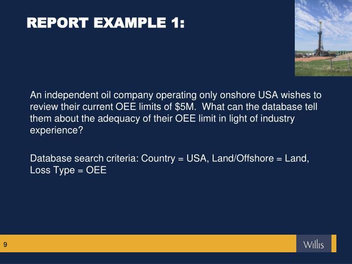 REPORT EXAMPLE 1: