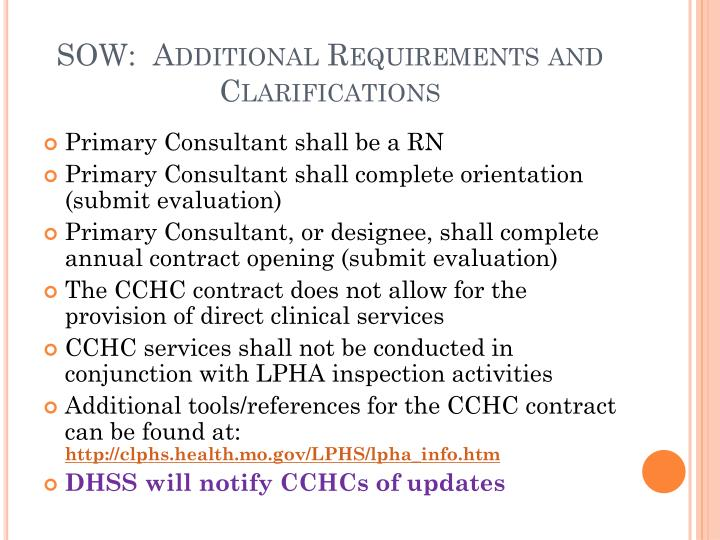 SOW:  Additional Requirements and Clarifications