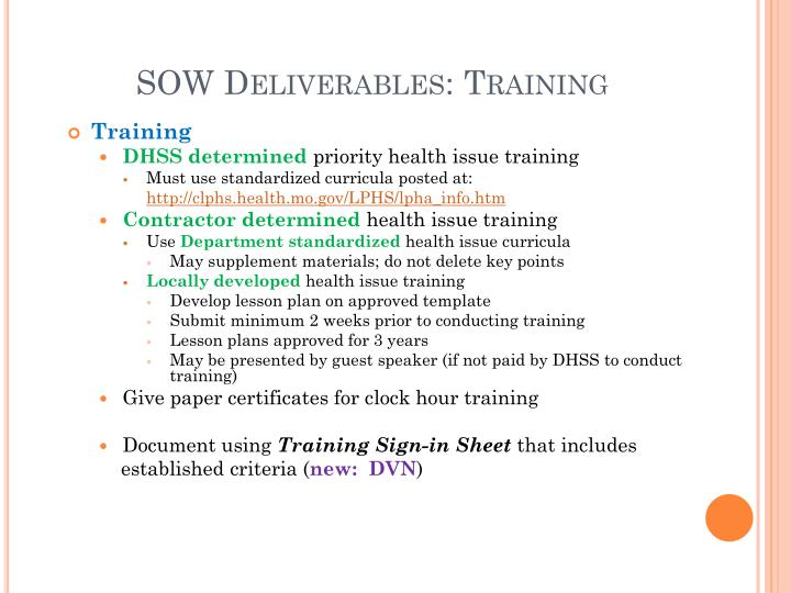 SOW Deliverables: Training