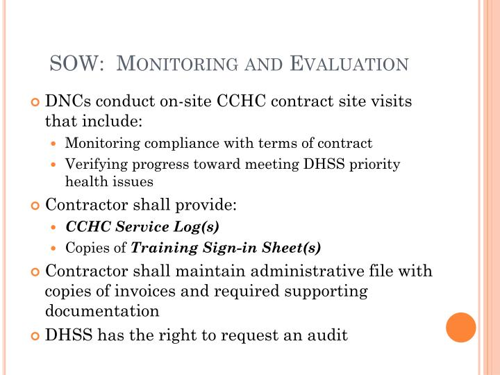SOW:  Monitoring and Evaluation