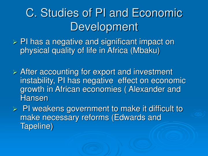 C. Studies of PI and Economic Development
