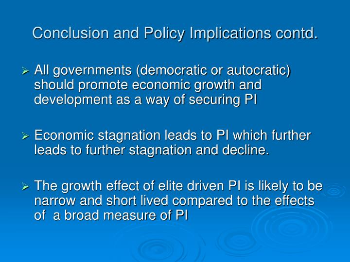 Conclusion and Policy Implications contd.