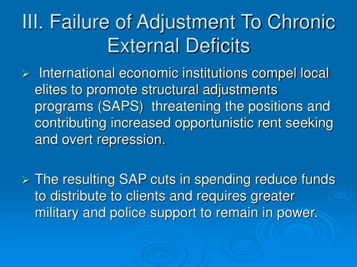 III. Failure of Adjustment To Chronic External Deficits