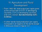 iv agriculture and rural development