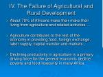 iv the failure of agricultural and rural development