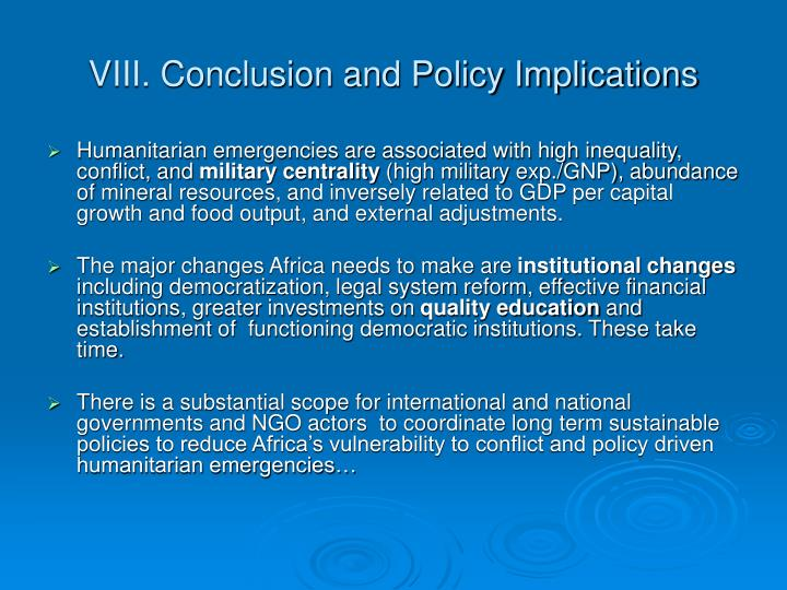 VIII. Conclusion and Policy Implications