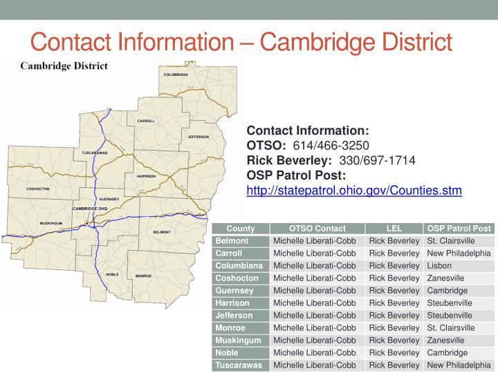 Contact Information – Cambridge District