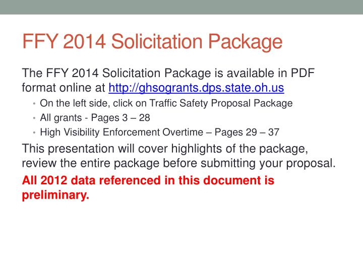 FFY 2014 Solicitation Package