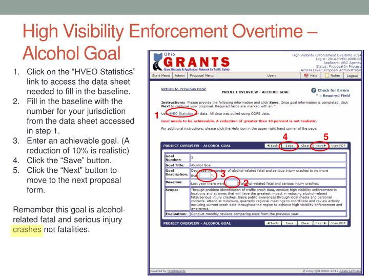 High Visibility Enforcement Overtime – Alcohol Goal