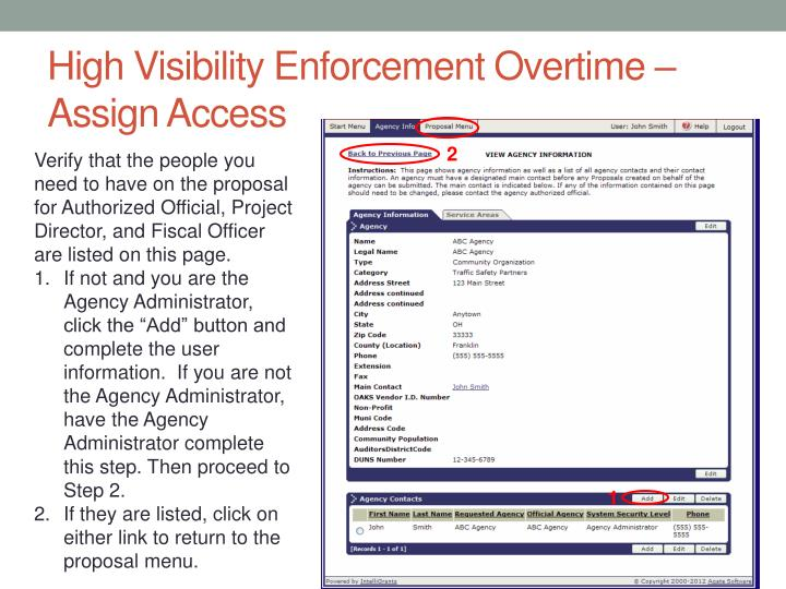 High Visibility Enforcement Overtime – Assign Access
