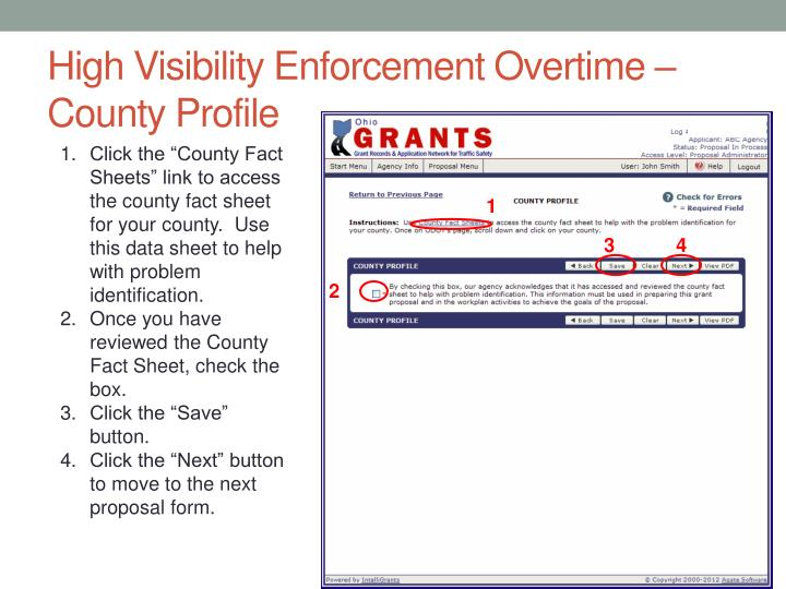 High Visibility Enforcement Overtime – County Profile