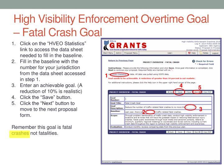 High Visibility Enforcement Overtime Goal – Fatal Crash Goal