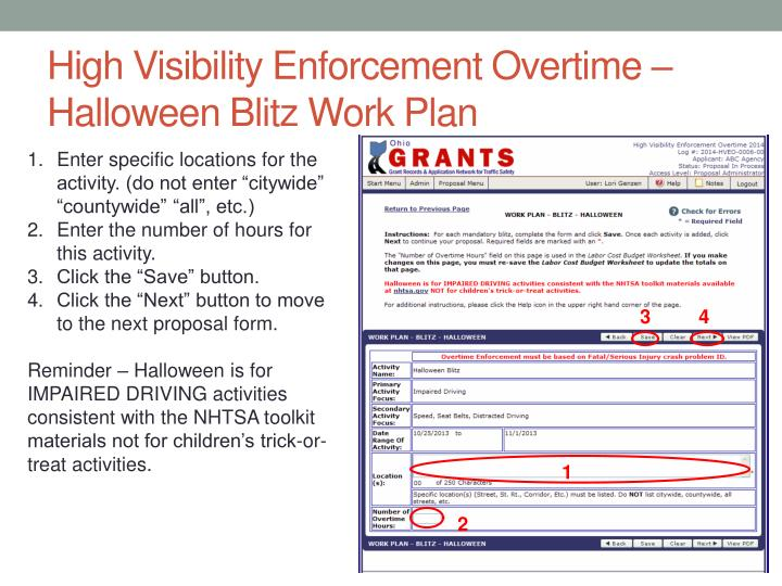 High Visibility Enforcement Overtime – Halloween Blitz Work Plan
