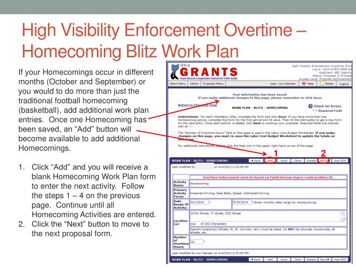 High Visibility Enforcement Overtime – Homecoming Blitz Work Plan