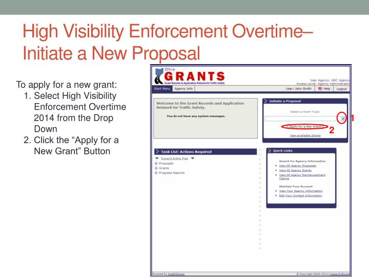 High Visibility Enforcement Overtime– Initiate a New Proposal