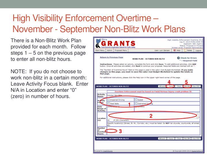 High Visibility Enforcement Overtime – November - September Non-Blitz Work Plans