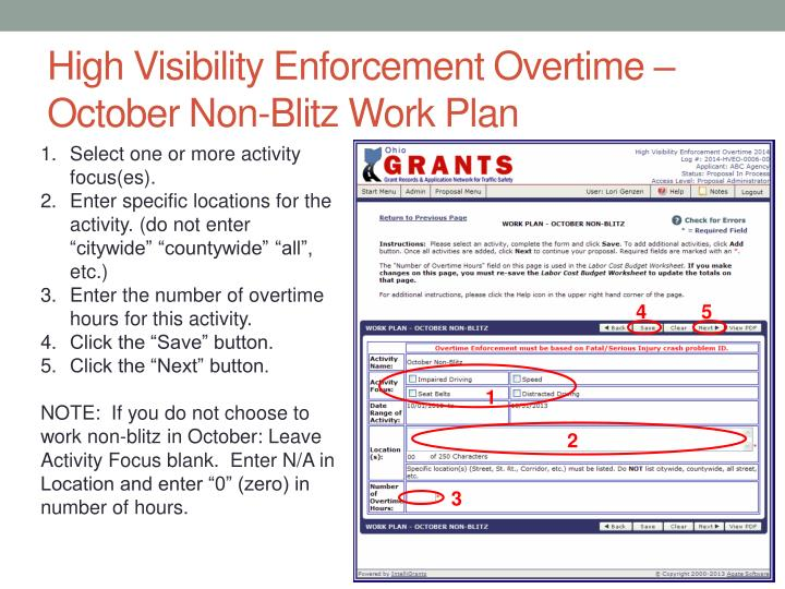 High Visibility Enforcement Overtime – October Non-Blitz Work Plan