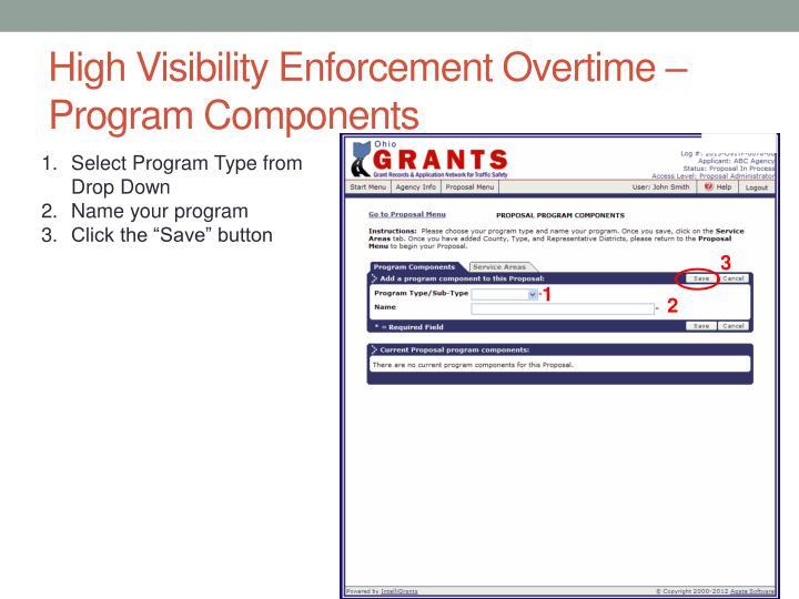 High Visibility Enforcement Overtime – Program Components