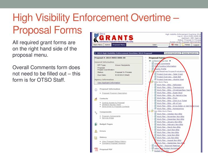 High Visibility Enforcement Overtime – Proposal Forms