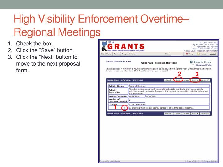 High Visibility Enforcement Overtime– Regional Meetings