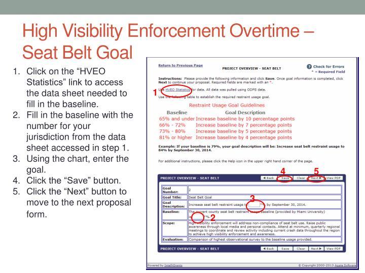 High Visibility Enforcement Overtime – Seat Belt Goal