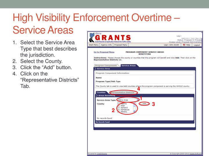 High Visibility Enforcement Overtime – Service Areas