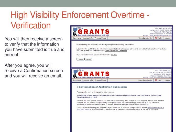 High Visibility Enforcement Overtime - Verification
