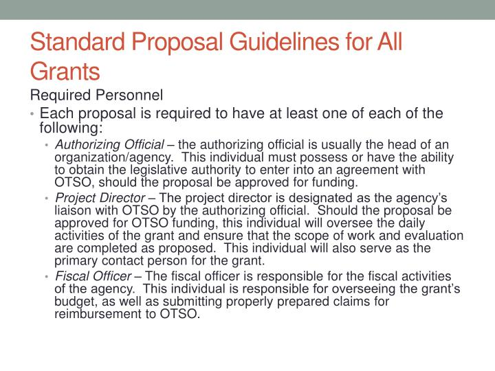 Standard Proposal Guidelines for All Grants