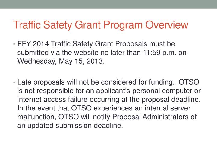Traffic Safety Grant Program Overview