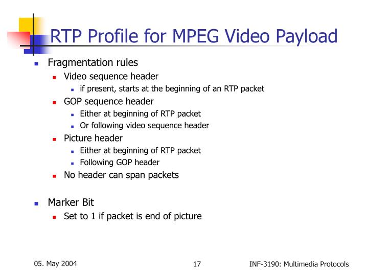 RTP Profile for MPEG Video Payload