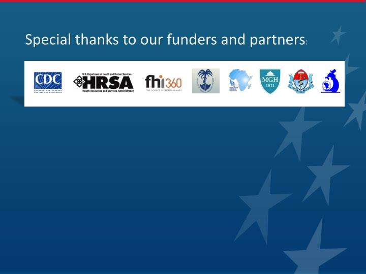 Special thanks to our funders and partners