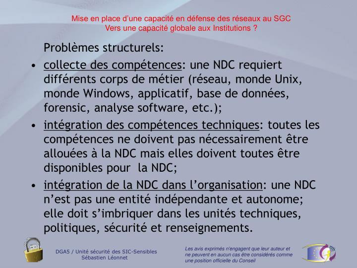 Problèmes structurels: