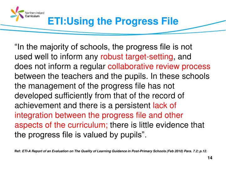 ETI:Using the Progress File