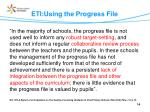 eti using the progress file