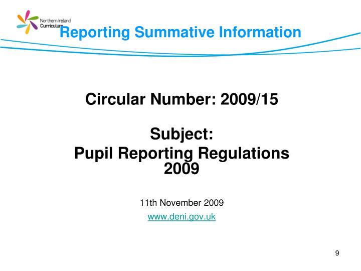 Reporting Summative Information
