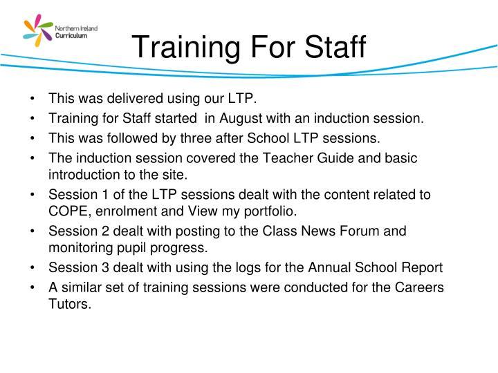Training For Staff