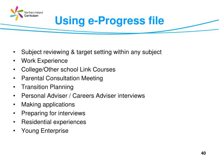 Using e-Progress file