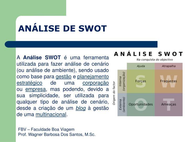 ANÁLISE DE SWOT