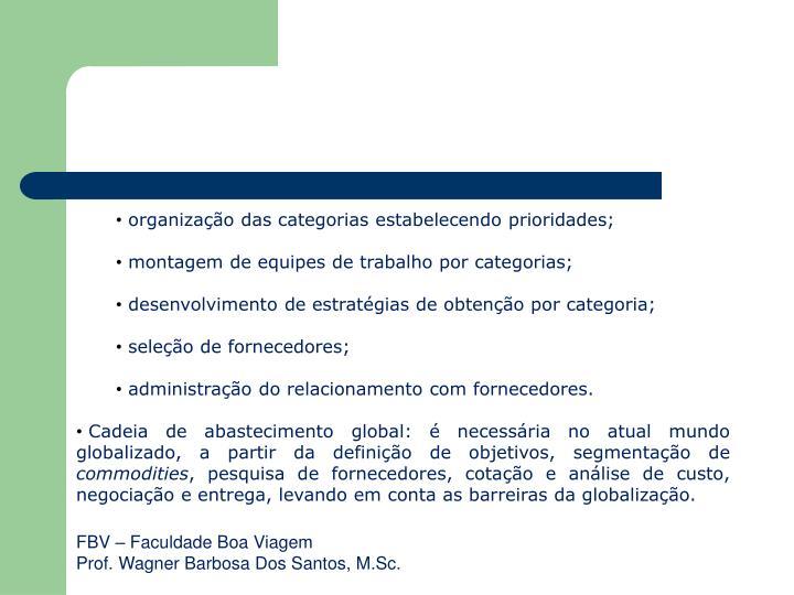 organização das categorias estabelecendo prioridades;