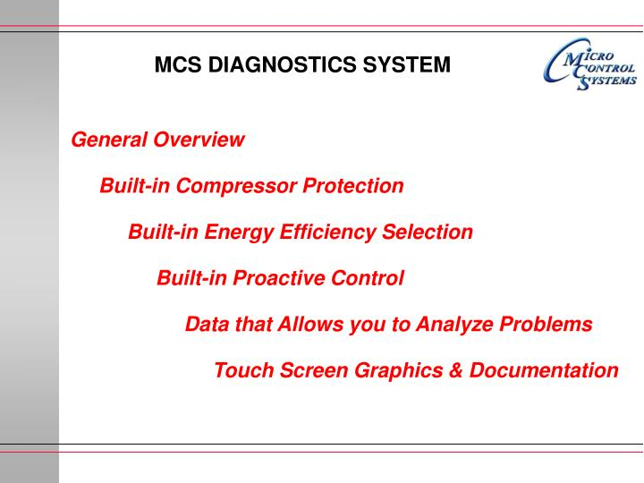 MCS DIAGNOSTICS SYSTEM
