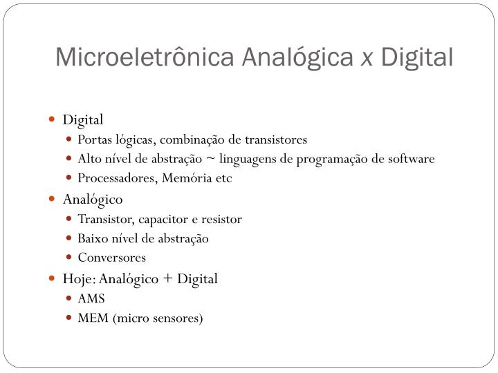 Microeletrônica Analógica