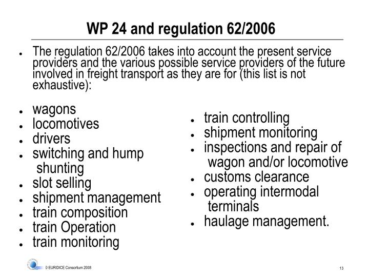 WP 24 and regulation 62/2006