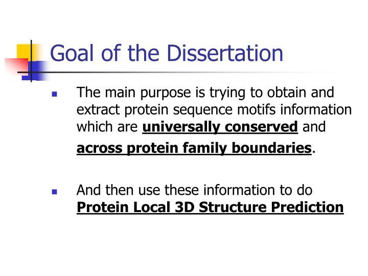 Goal of the Dissertation